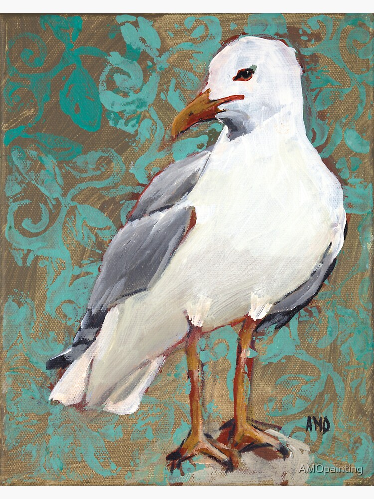 Seagull with Aqua Pattern 1 of 2 by AMOpainting