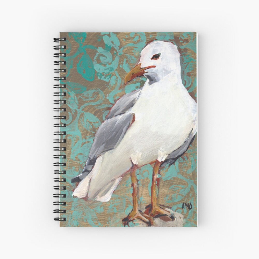 Seagull with Aqua Pattern 1 of 2 Spiral Notebook