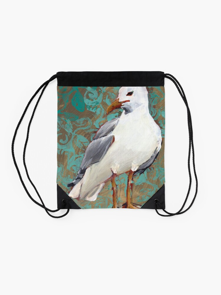 Alternate view of Seagull with Aqua Pattern 1 of 2 Drawstring Bag