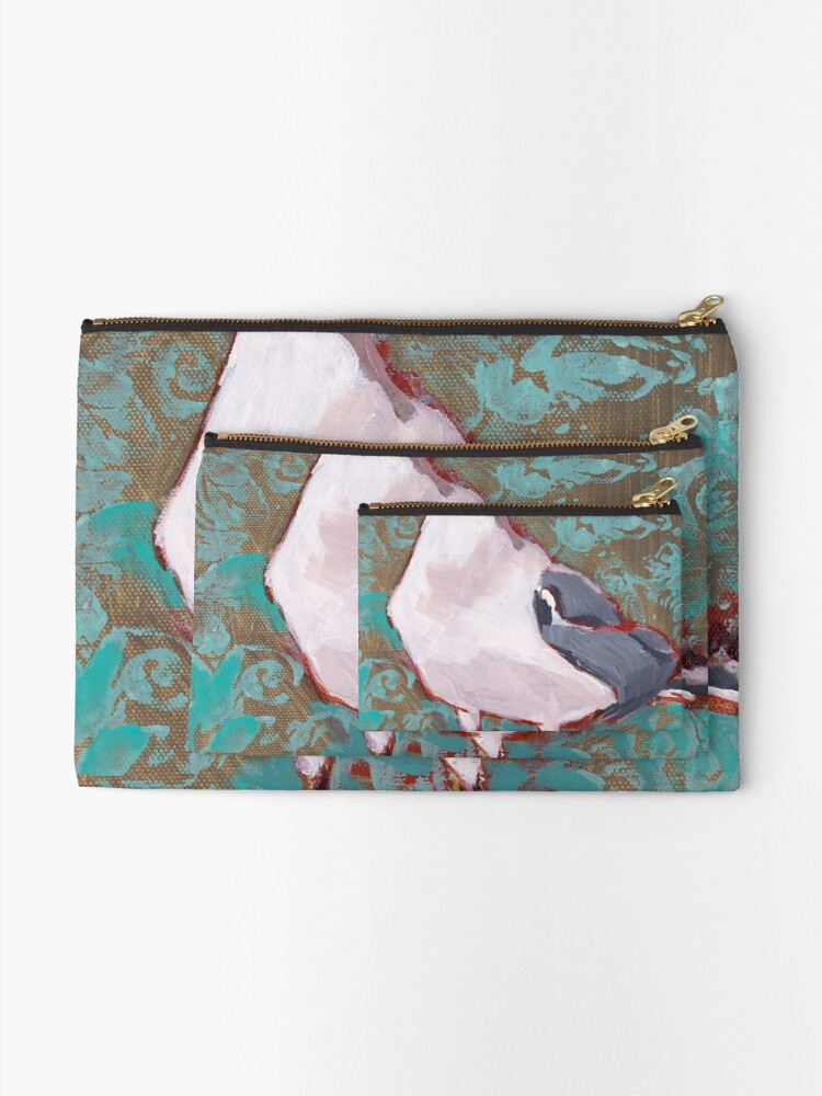 Alternate view of Seagull with Aqua Pattern 2 of 2 Zipper Pouch