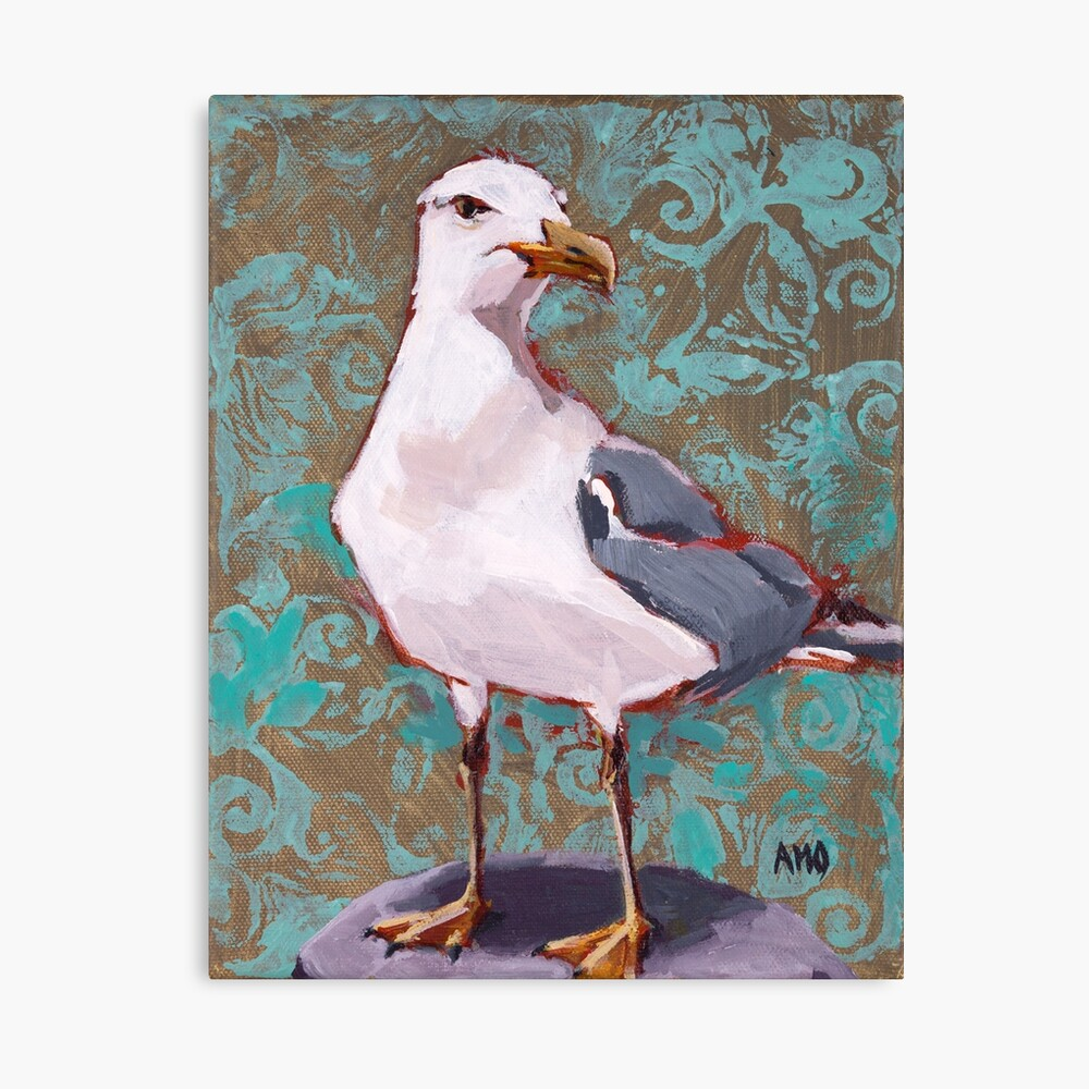 Seagull with Aqua Pattern 2 of 2 Canvas Print