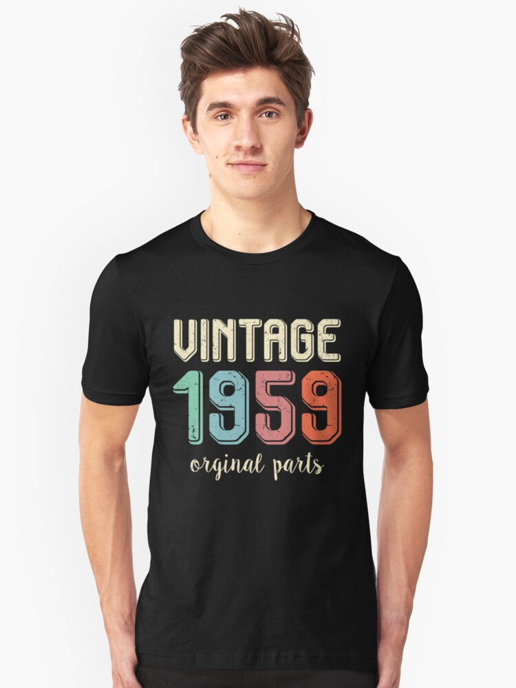Vintage Retro 1959 60 Years Old 60th Birthday Gift T Shirt Unisex