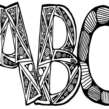Tall Black and White ABC by KazM