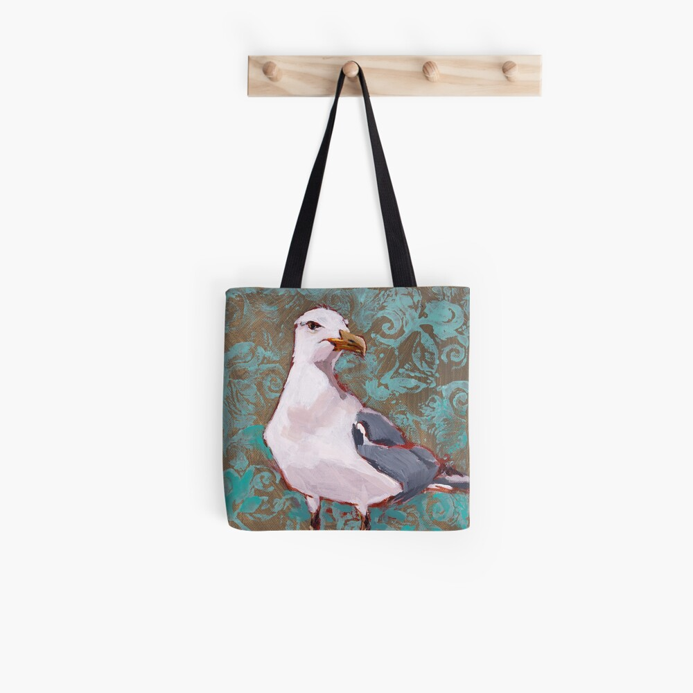 Seagull with Aqua Pattern 2 of 2 Tote Bag
