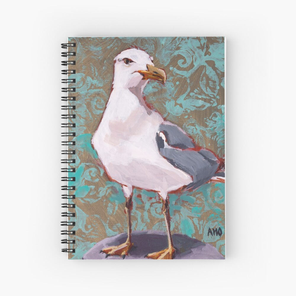 Seagull with Aqua Pattern 2 of 2 Spiral Notebook