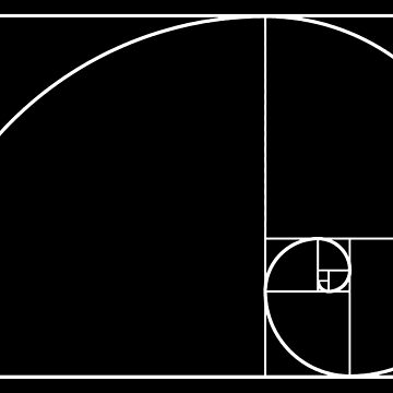 Golden ratio, golden mean, golden section, Latin: sectio aurea. White on Black by TOMSREDBUBBLE
