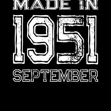 Birthday Celebration Made In September 1951 Birth Year by FairOaksDesigns