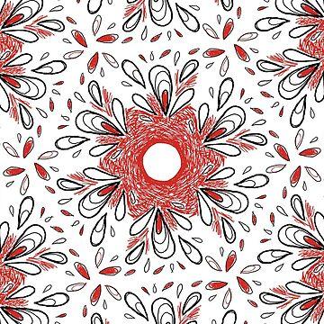 Red Scribble Pattern by rosemaryann