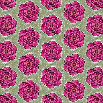 Green and Rose Abstract Flower by rosemaryann