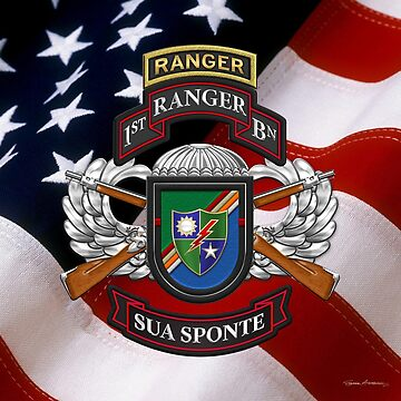 1st Ranger Battalion - Army Rangers Special Edition over American Flag by Captain7