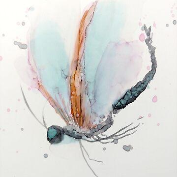 Dragonfly - Lt Blue, Pink, Orange by GlennArt