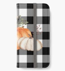 Fall Halloween Pumpkins on Black and White Buffalo Check iPhone Wallet/Case/Skin