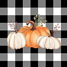 Fall Halloween Pumpkins on Black and White Buffalo Check by Ann Drake