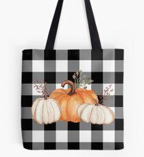 Fall Halloween Pumpkins on Black and White Buffalo Check Tote Bag