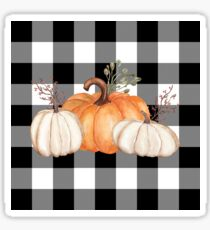 Fall Halloween Pumpkins on Black and White Buffalo Check Sticker