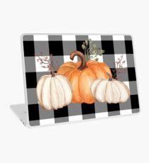 Fall Halloween Pumpkins on Black and White Buffalo Check Laptop Skin