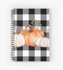 Fall Halloween Pumpkins on Black and White Buffalo Check Spiral Notebook