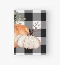 Fall Halloween Pumpkins on Black and White Buffalo Check Hardcover Journal