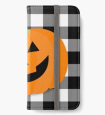 Orange Halloween Jack O' Lantern Pumpkin on Black and White Buffalo Check iPhone Wallet/Case/Skin