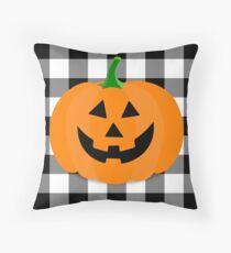 Orange Halloween Jack O' Lantern Pumpkin on Black and White Buffalo Check Throw Pillow