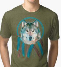 Spirit Wolf Dream Catcher Tri-blend T-Shirt