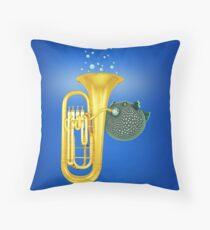 Puffer Fish Playing Tuba Throw Pillow