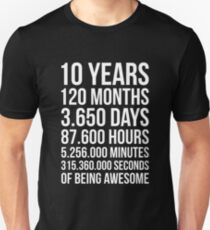 Awesome 10th Birthday Shirt Funny 10 Year Old Gift Unisex T