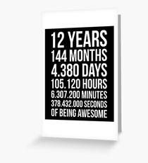Awesome 12th Birthday Shirt Funny 12 Year Old Gift Greeting Card