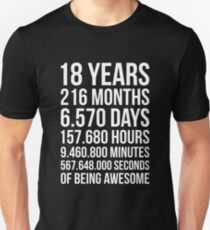 Awesome 18th Birthday Shirt Funny 18 Year Old Gift Unisex T