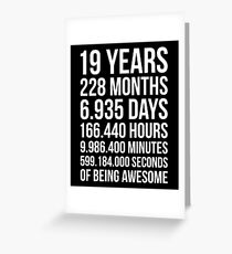 Awesome 19th Birthday Shirt Funny 19 Year Old Gift Greeting Card