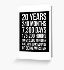 Awesome 20th Birthday Shirt Funny 20 Year Old Gift Greeting Card