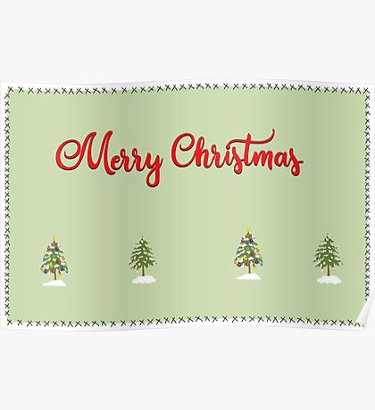 Merry Christmas Trees Stitches Poster