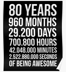 Awesome 80th Birthday Shirt Funny 80 Year Old Gift Poster