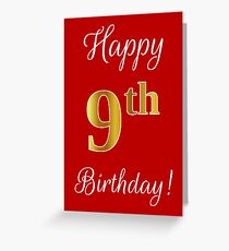 """Elegant, Faux Gold Look Number, """"Happy 9th Birthday!"""" (Red Background) Greeting Card"""