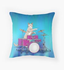 Cat Playing Drums - Blue Throw Pillow