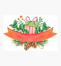 Christmas Banner Holly and Present Design Photographic Print