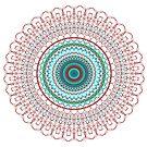 Teal, maroon, Red and Green  detailed Mandala by kina lakhani