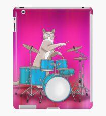 Cat Playing Drums - Pink iPad Case/Skin