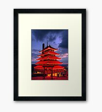 Pagoda Overlooking City of Reading, PA at Night Framed Print
