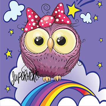 Cute Purple Owl in Superhero Unicorn Background / Unicorn Owl Scenery / Travel with an Owl Superhero by ProjectX23