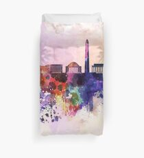 Washington DC skyline in watercolor background  Duvet Cover