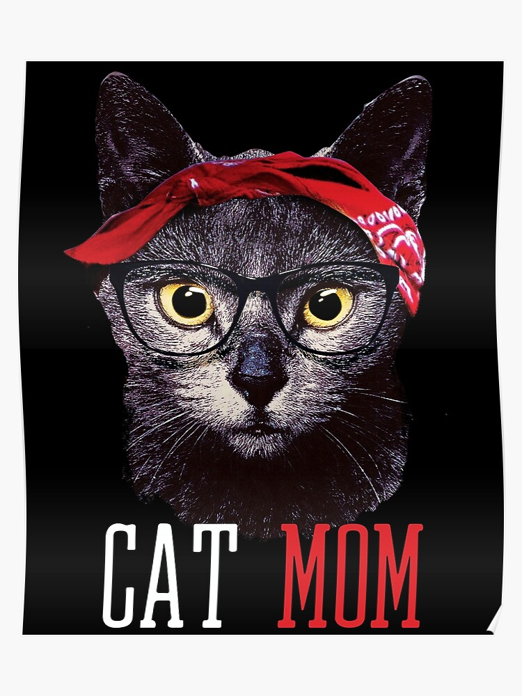 42327b0b0 Funny Cat Mom Red Bandana Cat Lover Mothers Day Gift T-shirt