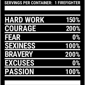 Cool Firefighter Nutrition Facts Fireman T-shirt by zcecmza
