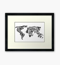 Map of the World Zentangle Framed Print