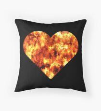 Firefighter Heart Flames Fireman Graphic T-shirt Throw Pillow