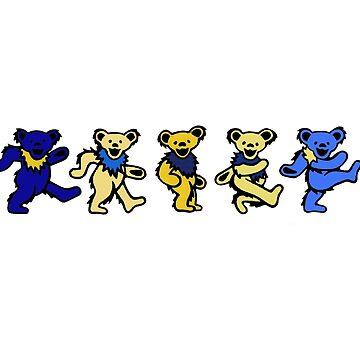 Yellow and Blue Grateful Dead bears by hcohen2000