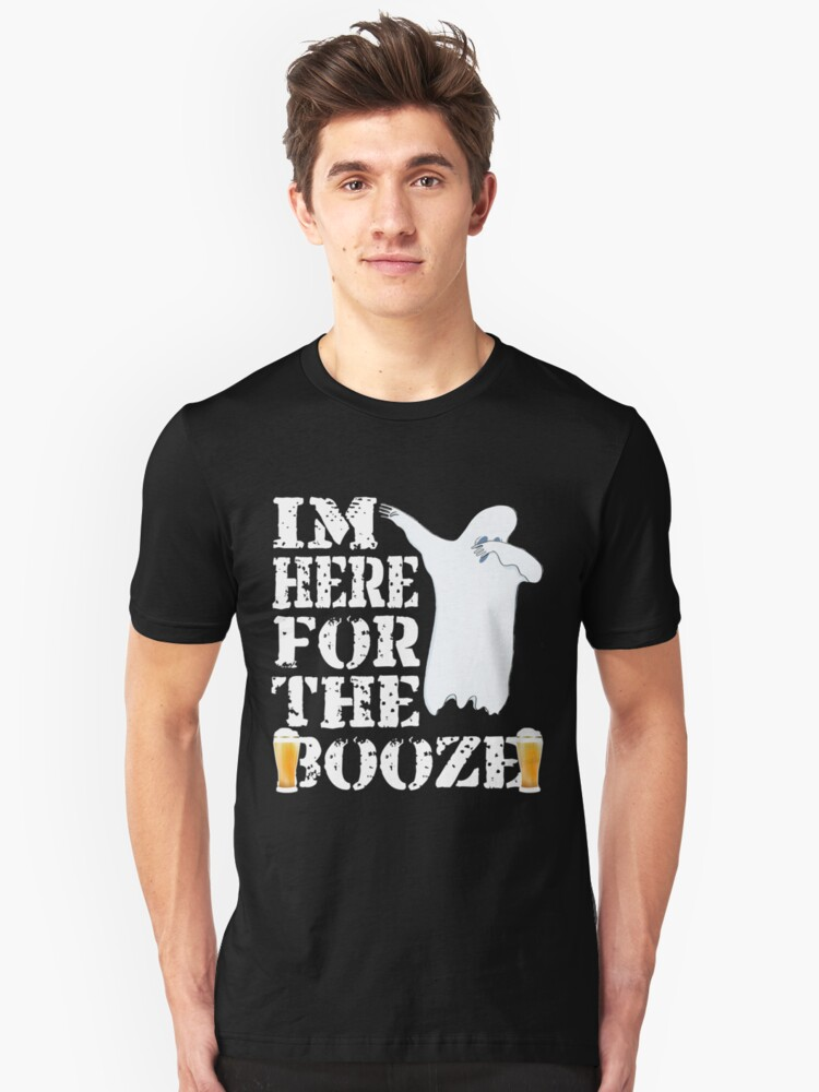 Funny Halloween Dabbing Ghost I'm Just Here For The Booze. Beer Lover Gift Unisex T-Shirt Front