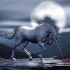Unicorn Moon in Blue by Ladyfyre