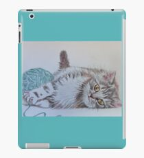Cute Tabby Cat Playing Softly With Wool Pencil Drawing iPad Case/Skin