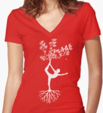 Yoga Pose Reaching For Nature Women's Fitted V-Neck T-Shirt